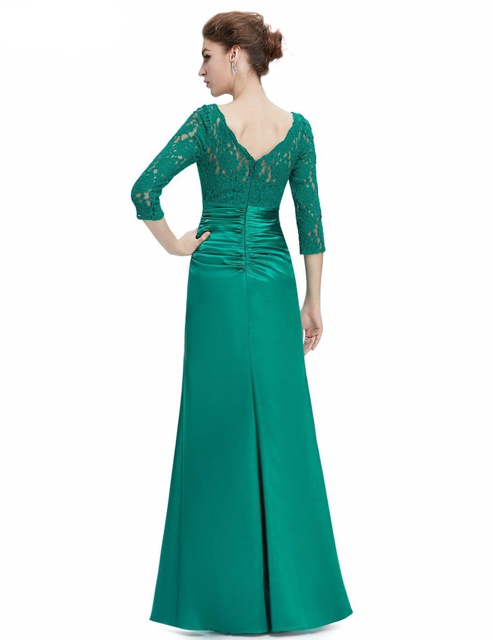 Trumpet/Mermaid 3/4 Sleeve Lace Satin Formal Party Evening Dress ...