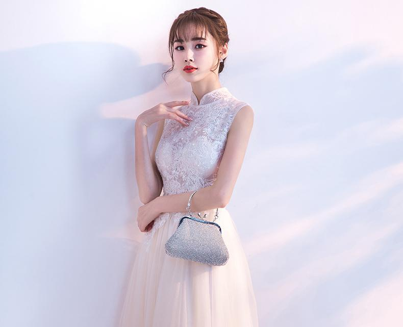 Shop tulle high neck prom dress with pearls and lace appliques now