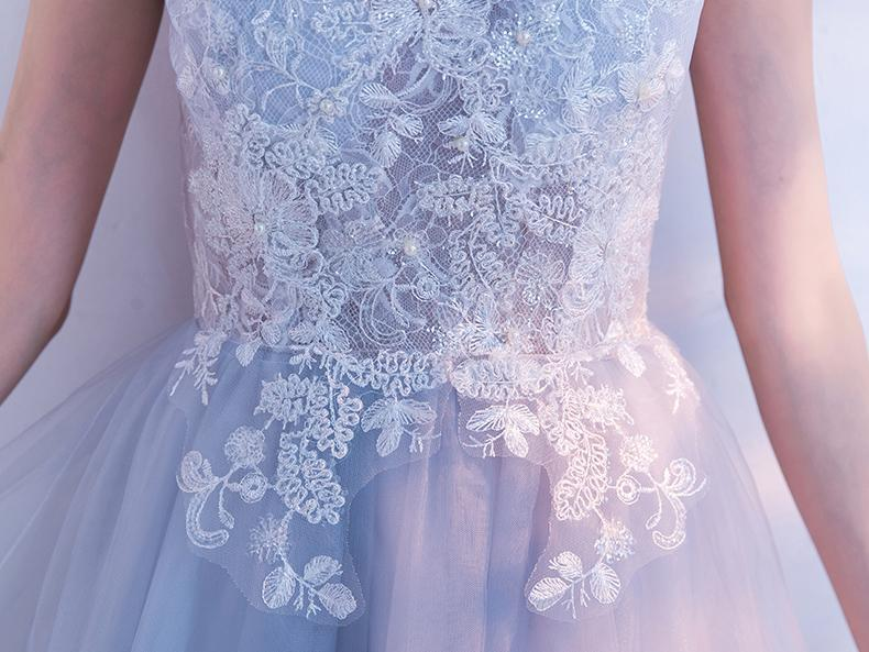 Pink high neck chiffon prom dress with lace appliques bodice