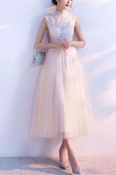 Tulle High Neck Prom Dress With Pearls And Lace Appliques | TeresaClare