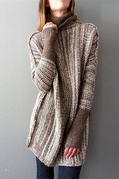 Turtleneck Patchwork Knitted Pullovers Female Long Club Sweater | TeresaClare