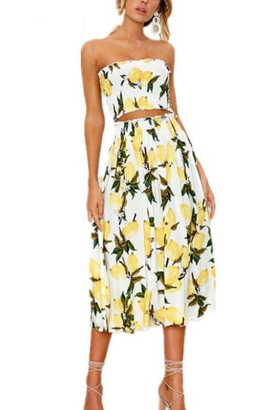 Two-Piece Beach Summer Sexy Strapless Boho Sunflower Fashion Dress | TeresaClare