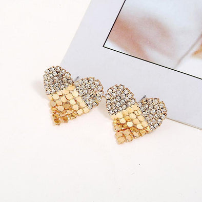Unique Alloy Rhinestone Love Heart Stud Earrings | TeresaClare