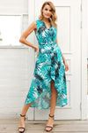 V Neck Bird Print Summer Sexy Sleeveless Sash Maxi Wrap Fashion Dress | TeresaClare
