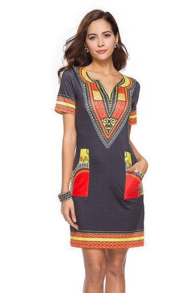 V-Neck Ethnic Styled Printed Fashion Dress With Short Sleeves | TeresaClare