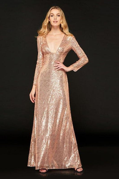 V-Neck Light Golden Full Sleeves Floor Length Evening Dress  a0de5ca16