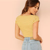 V Neck Rib Knit Striped Casual Short Cotton Crop Top | TeresaClare