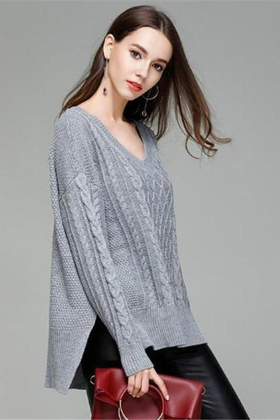 V-neck Split Fashion Knitted Pullovers Irregularity Sweater | TeresaClare