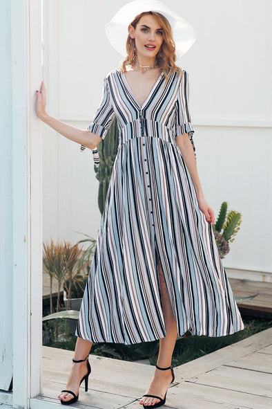 V Neck Stripe Long Short Sleeve Button Maxi Dress | TeresaClare