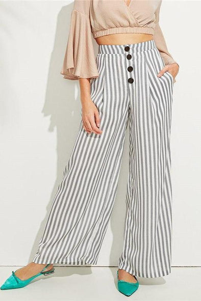 Vacation Boho Beach Button Up Wide Leg Striped Pants | TeresaClare