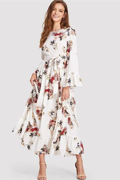 Vacation Boho Beach Floral Print Round Neck Fashion Dress | TeresaClare