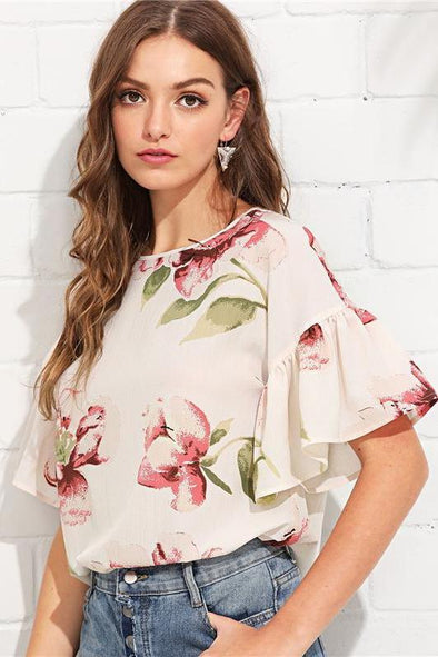 Vacation Floral Print Flounce Ruffle Sleeve Blouse | TeresaClare