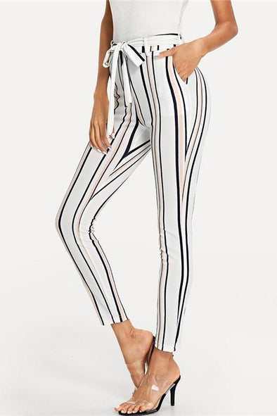 Vertical Striped Skinny White Elastic Waist Pocket Pants | TeresaClare