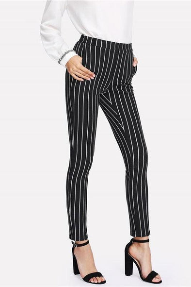 Vertical Striped Skinny Women's Elastic Waist Pants | TeresaClare