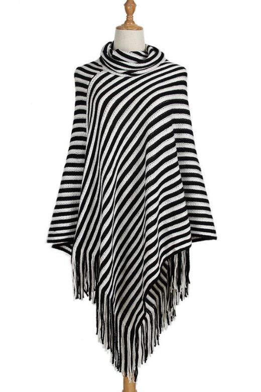 Vintage Black And White Striped Tassel Poncho Turtleneck Sweater | TeresaClare