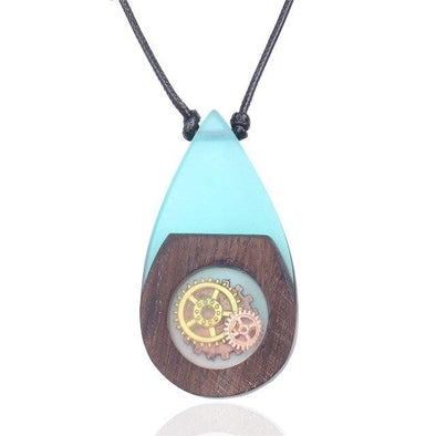 Vintage Blue Resin Wood Pendant Necklaces | TeresaClare