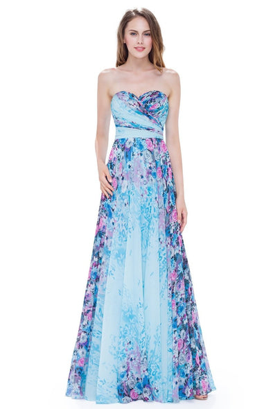 Vintage Floral Print Hot Colorful Formal Evening Dress | TeresaClare