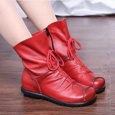 Vintage Style Genuine Leather Women Boots Flats | TeresaClare