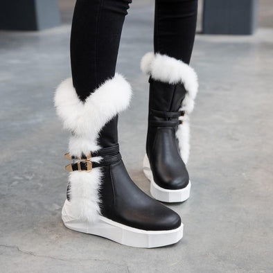 Warm Mid Calf Cotton Platform Snow Boots | TeresaClare