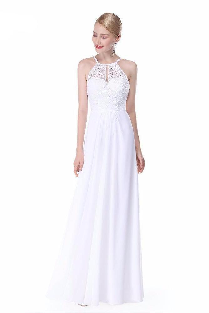 Shop A-Line Halter Neck Chiffon Prom Dress With Lace Now! – TeresaClare 1c2f0bb13