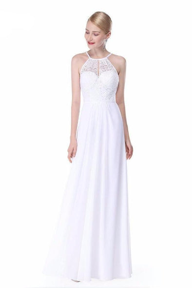 White A-Line Halter Neck Chiffon Prom Dress With Lace | TeresaClare