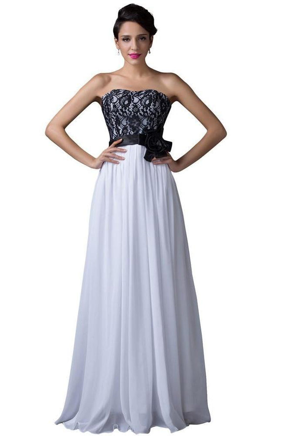 White And Black Lace Chiffon Long Evening Dress | TeresaClare
