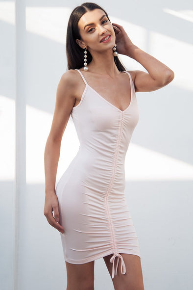 White Backless Sexy Bodycon Strap V Neck Ruched Short Dress | TeresaClare