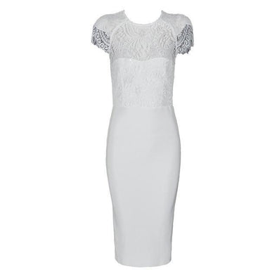 White Bandage Lace Short Sleeve Hollow Out Midi Club Party Dress | TeresaClare