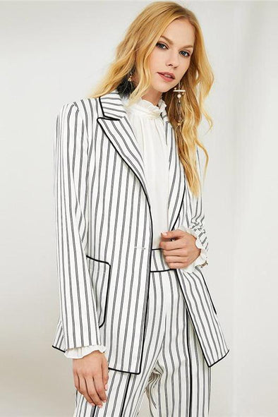 White Black And White Striped Long Blazer Two Piece Set | TeresaClare
