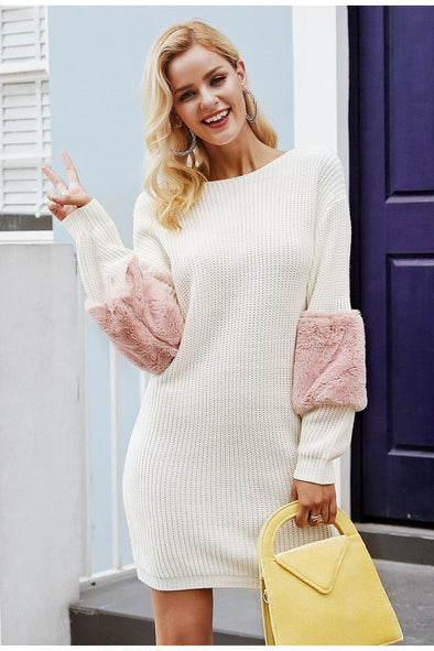 White Casual Knitted O Neck Women Sweater Dress | TeresaClare