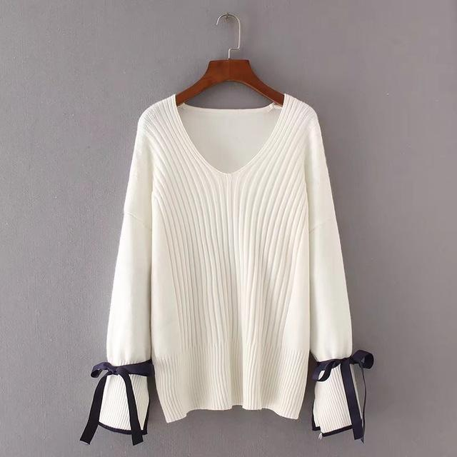 White Casual Knitting Pullover Fashion Solid Lace-Up Sweater For Women  5daddc271