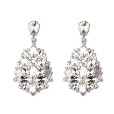 White Crystal Flower Shape Drop Earrings | TeresaClare
