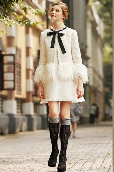 White Elegant Faux Fur Trim Tweed Bow Neck Blazer | TeresaClare