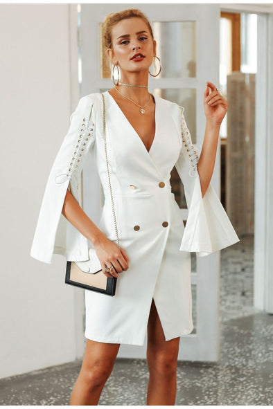 White Elegant Lace Up Split Blazer Women Dress | TeresaClare