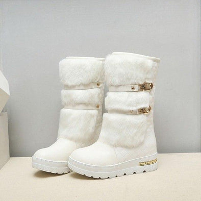 White Fashion Wedges Warm Fur Shoes Woman Platform Boots | TeresaClare