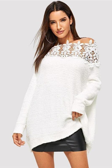 White Floral Lace Insert Elegant Casual Oversized Sweater | TeresaClare