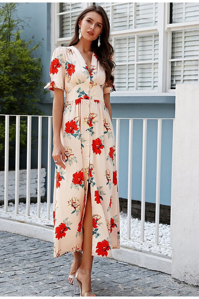 White Floral Print Knotted Short Sleeve Maxi Dress | TeresaClare