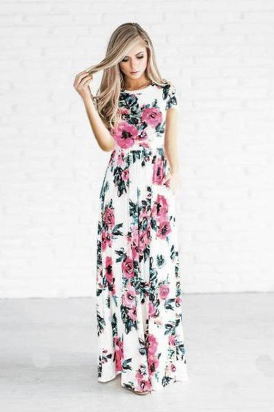 White Full Sleeve Plus Size Long Maxi Fashion Dress With Floral Print | TeresaClare