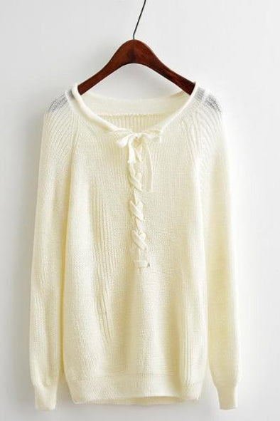 White Knitted O-Neck Lace Up Women Pullover Sweater | TeresaClare