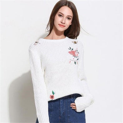 White Knitted Pullovers O-Neck Long Sleeve Floral Embroidery Sweater | TeresaClare