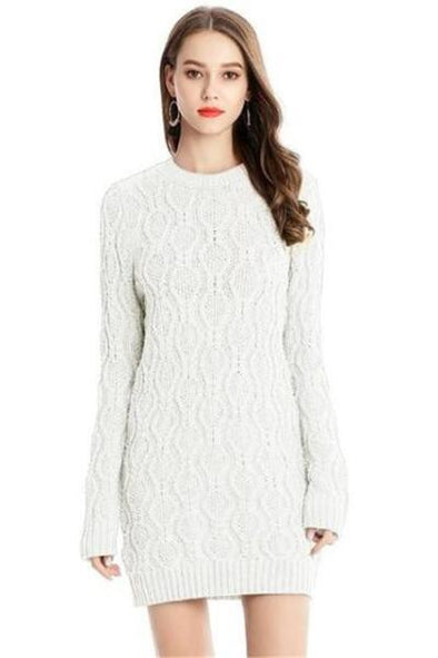 White Knitted Sweater Mini Dresses Fashion Long Sleeve | TeresaClare