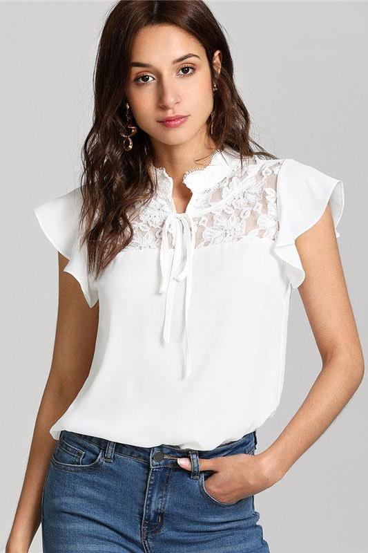 White Knot Floral Lace Yoke Top Stand Collar Blouse | TeresaClare