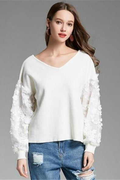 White Lace Patchwork Knitted Pullovers V-neck Sweater | TeresaClare