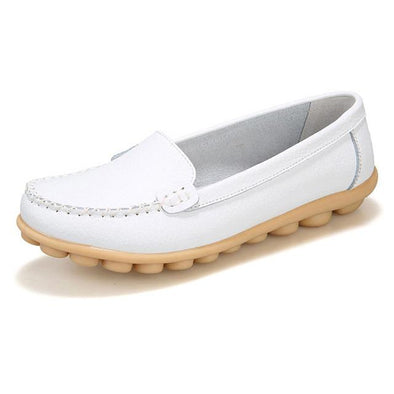 White Leather Women Flats Moccasins Loafers Casual Flats | TeresaClare