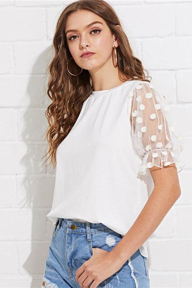 White Minimalist Workwear Office Lady Polka Dot T-Shirt | TeresaClare