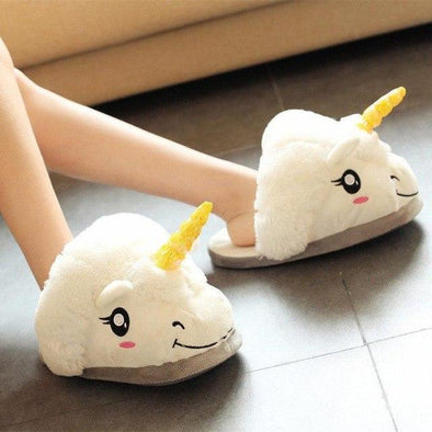 White New Cute Cartoon Unicorn Indoor Cotton Slippers | TeresaClare