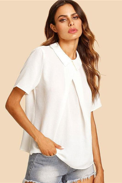White Overlap Fold Plain Short Sleeve Blouse | TeresaClare