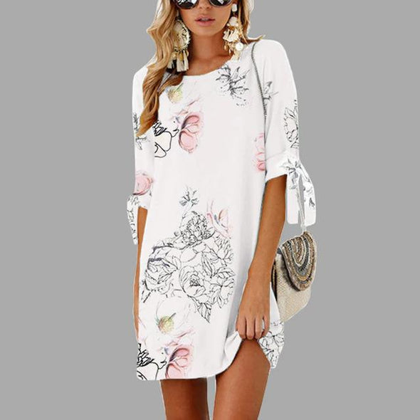 White Printed Straight Half Sleeve O Neck Mini Casual Fashion Dress | TeresaClare