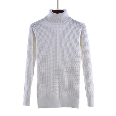 White Pullovers Slim Elastic Turtleneck Knitted Sweater | TeresaClare