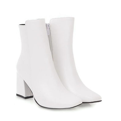 White Side Zipper Comfortable High Heel Ankle Boots | TeresaClare